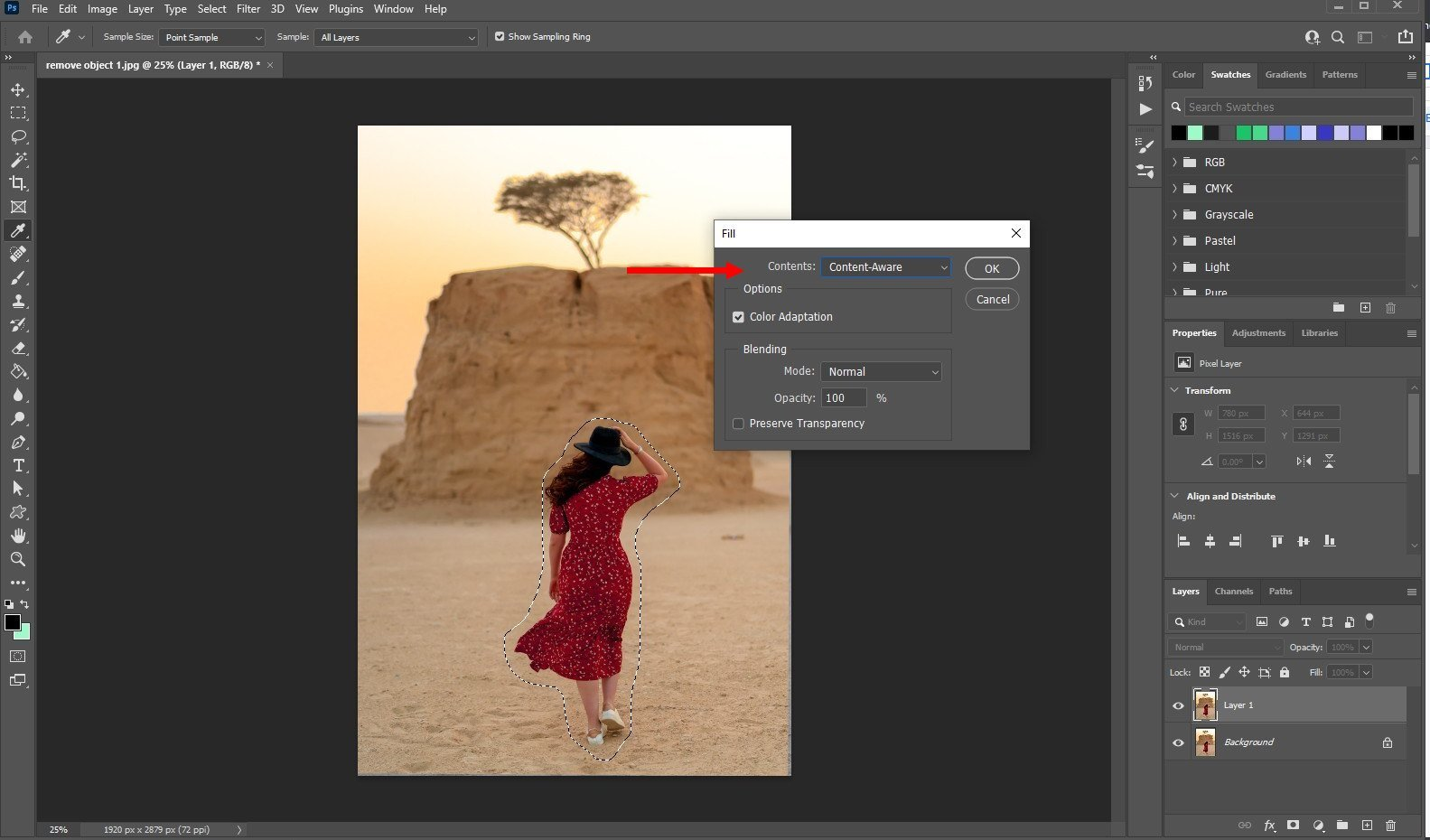 remove an object in photoshop - using fill - 3