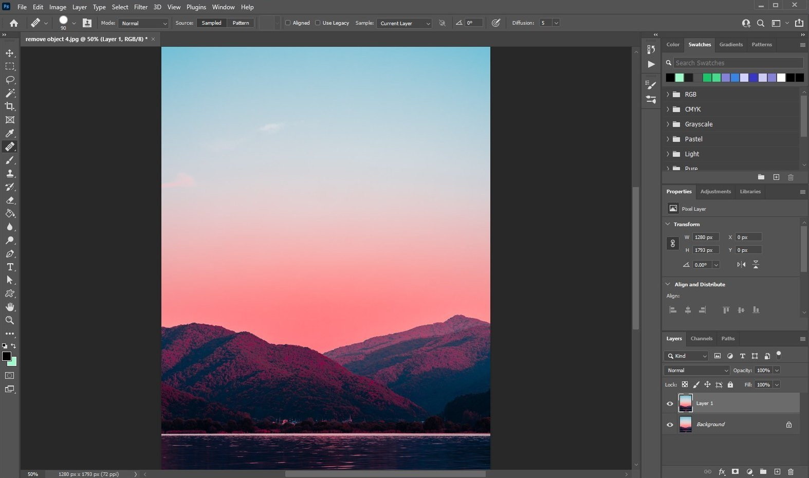 remove an object in photoshop - using healing brush - 2