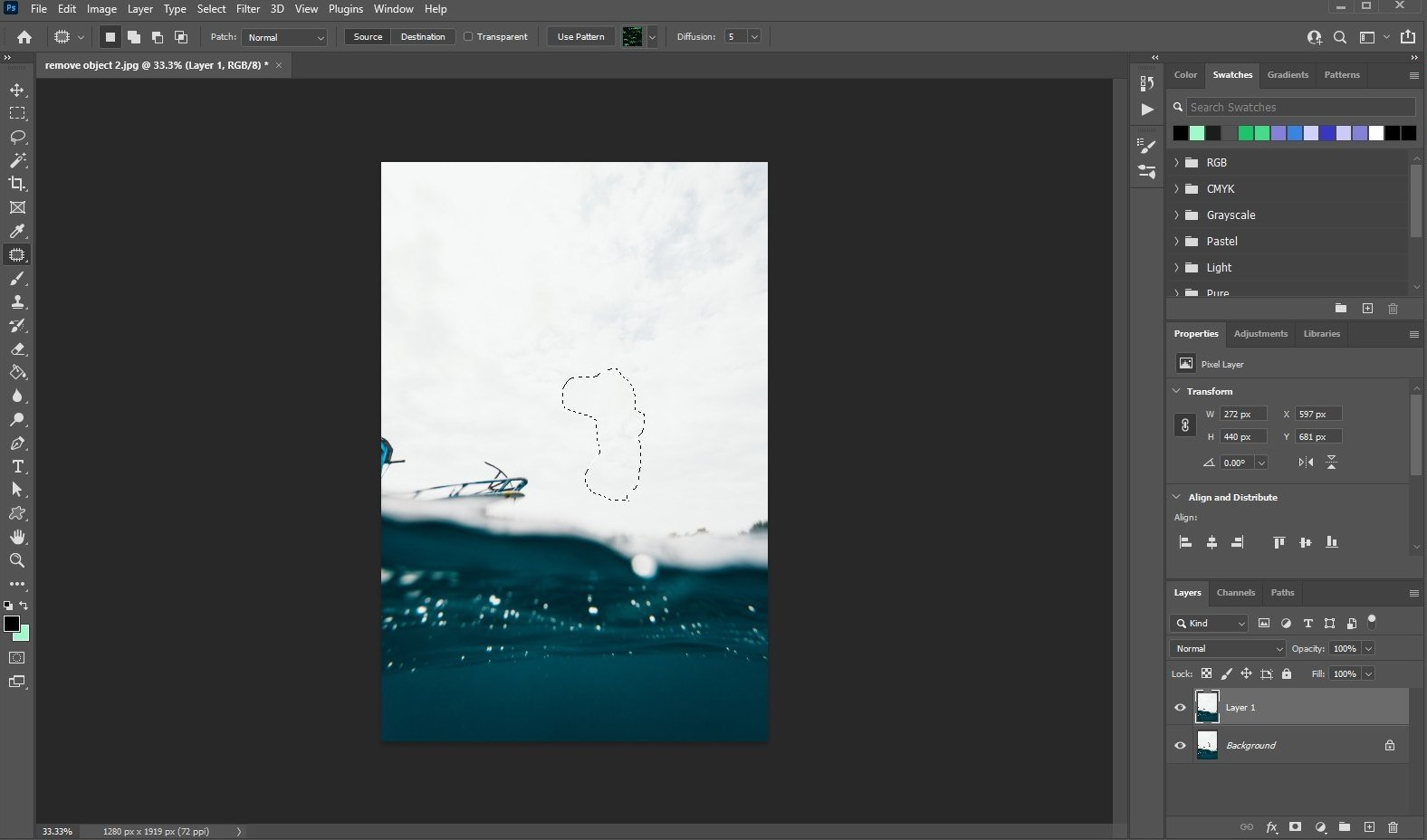 remove an object in photoshop - using patch tool - 3